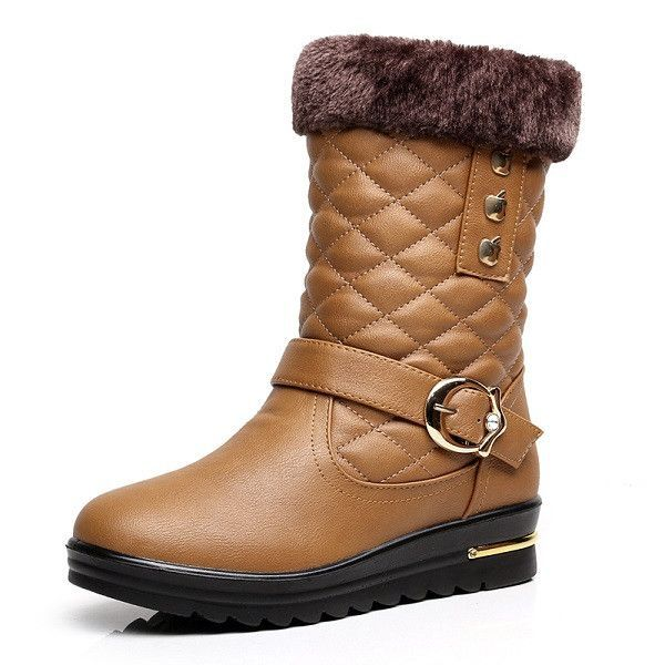 Winter new thickening warm snow boots waterproof waterproof tube in the women's cotton boots flat large size comfortable boots