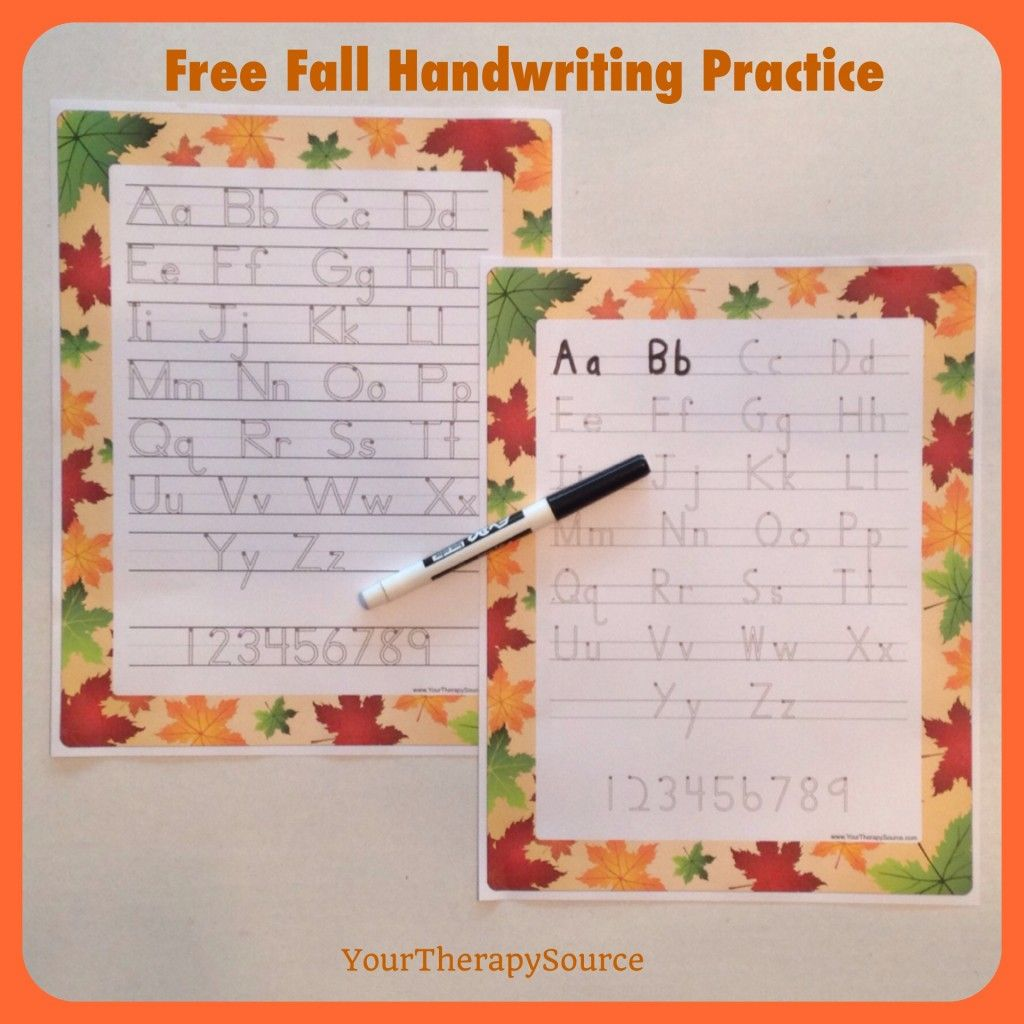 Free Fall Handwriting Practice Pages