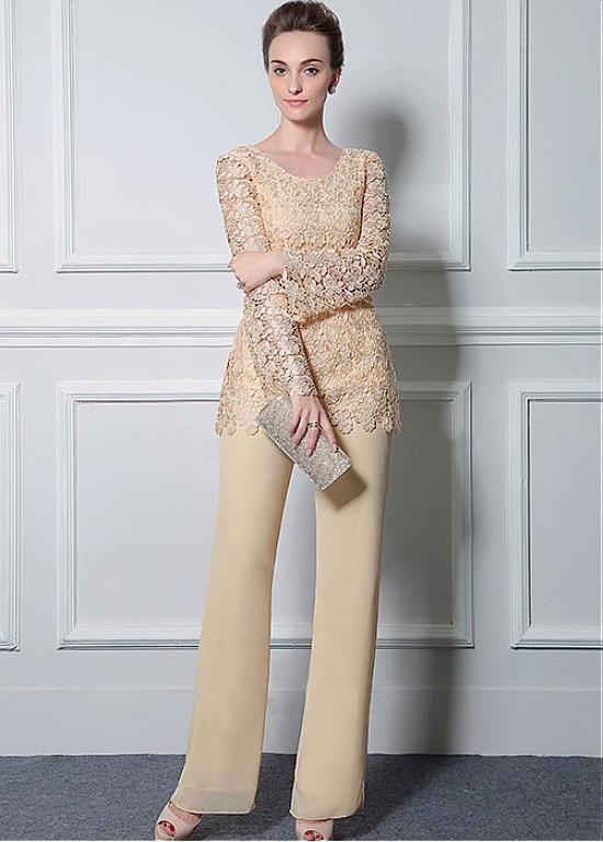 Buy discount Romantic Pant Suits Chiffon & Lace Scoop Neckline ...