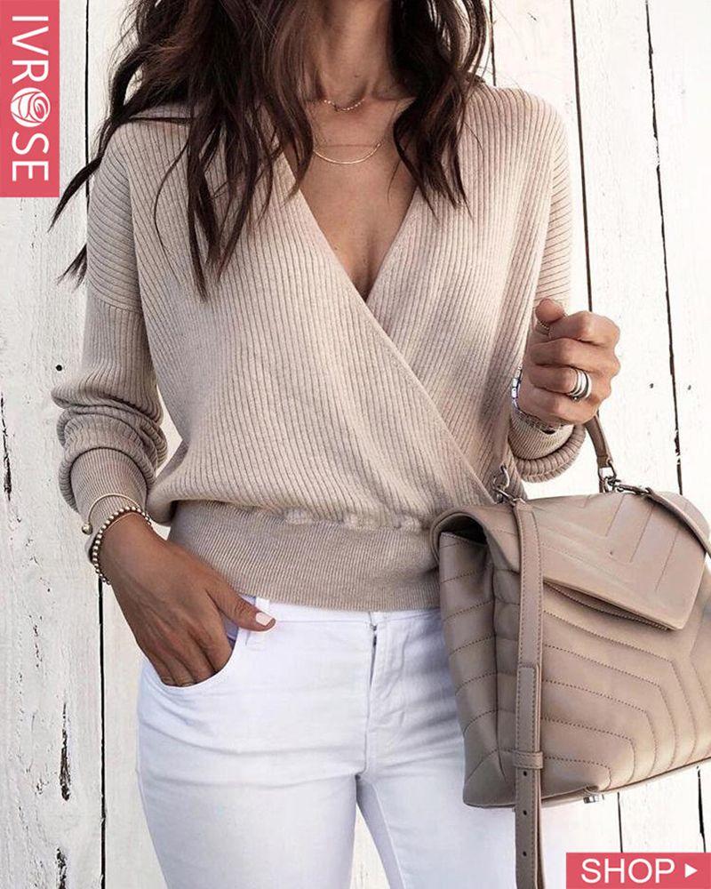 Solid V-Neck Long Sleeve Wrap Sweater #churchoutfitfall