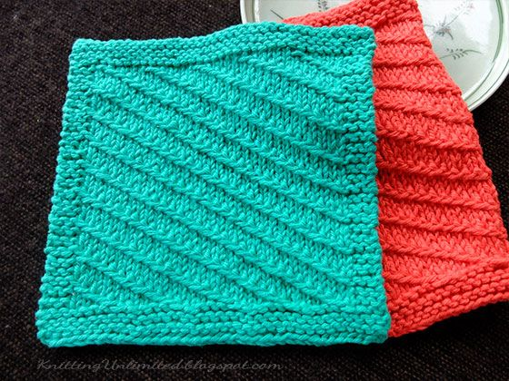 Diagonal Knitted Dishcloth Pattern 7 From Knittingunlimited