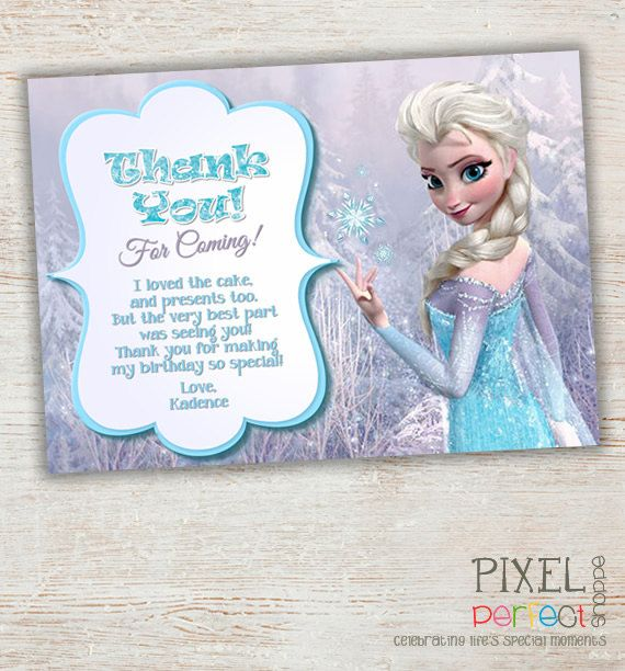 Frozen thank you card with lavender background and Elsa Frozen