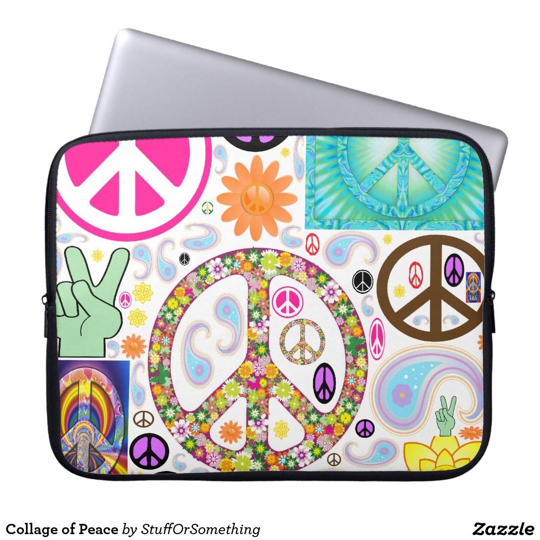 Collage of Peace Neoprene Laptop Sleeve 15 inch (x2)