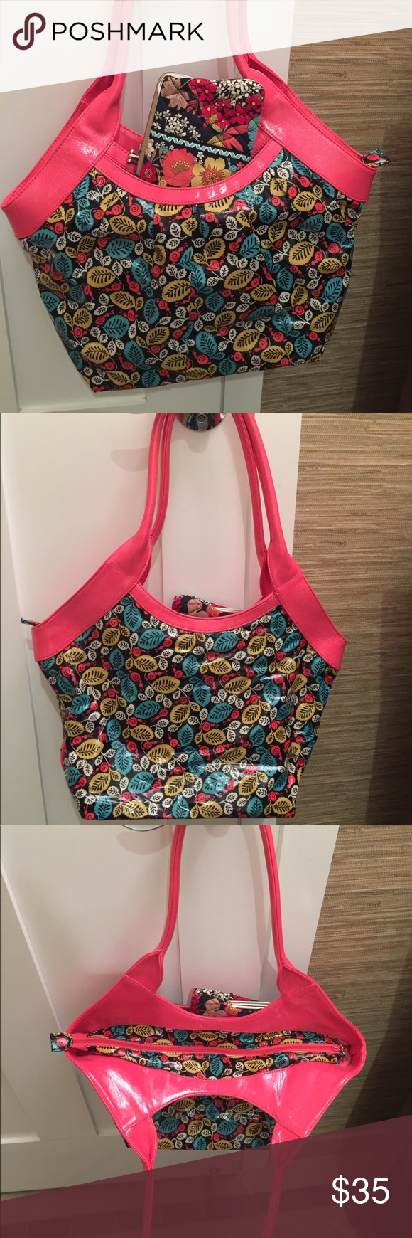 Vera Bradley Happy Snails Tote Tote is in good condition.  Easy to clean.  Comes with matching wallet.  Handles are coral colored but in the photo they look pink. Vera Bradley Bags Totes