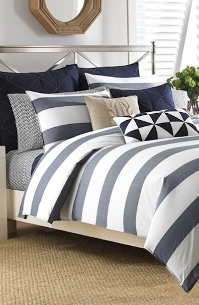 Navy Blue And Grey Striped Comforter Set Duvet Sets Comforter Sets Navy Comforter Sets