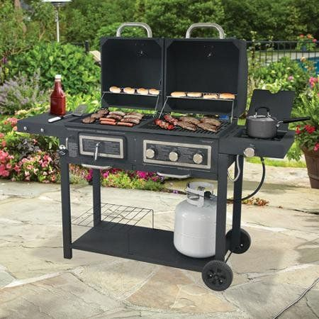 Durable Outdoor Barbeque And Burger Gas Charcoal Grill Combo