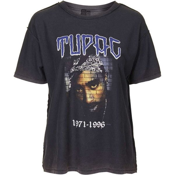 Tupac Tee by and Finally ($33) ❤ liked on Polyvore featuring tops, t-shirts, shirts, blusas, tees, black, t shirt, loose tee, cotton shirts and loose fitting t shirts