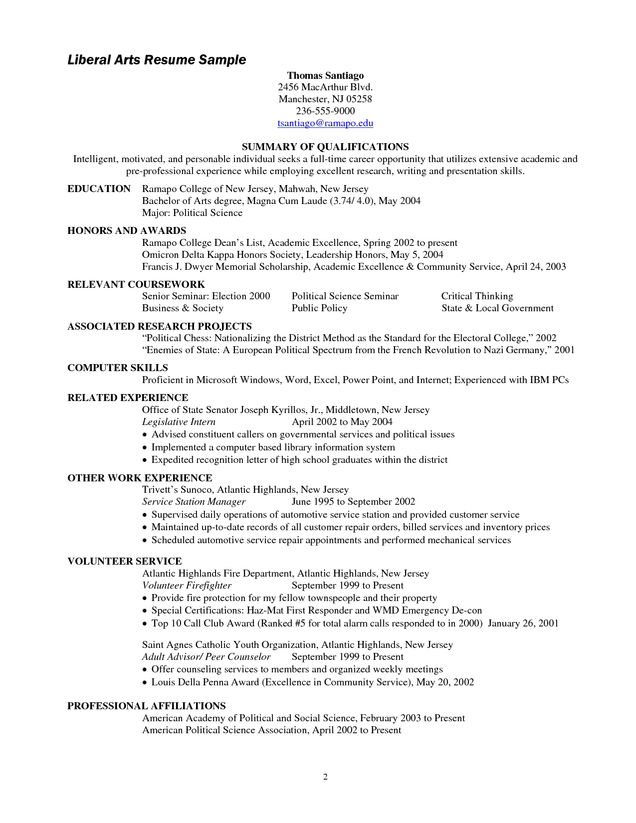 Sample Resume Liberal Arts Degree Expository Essay College Application Essay Essay