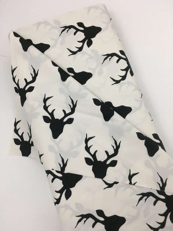 Texas Fabric Deer Black And White Silhouettes Bucks Hunter By The Ya