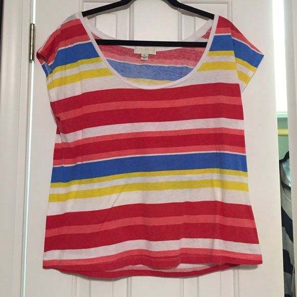 Stripped Colorful Top (Forever 21 Plus Sizes) Super cute. Worn twice. No stains, rips or discoloration. Only selling because I'm going to college and need to downsize my closet! Forever 21 Tops Tees - Short Sleeve
