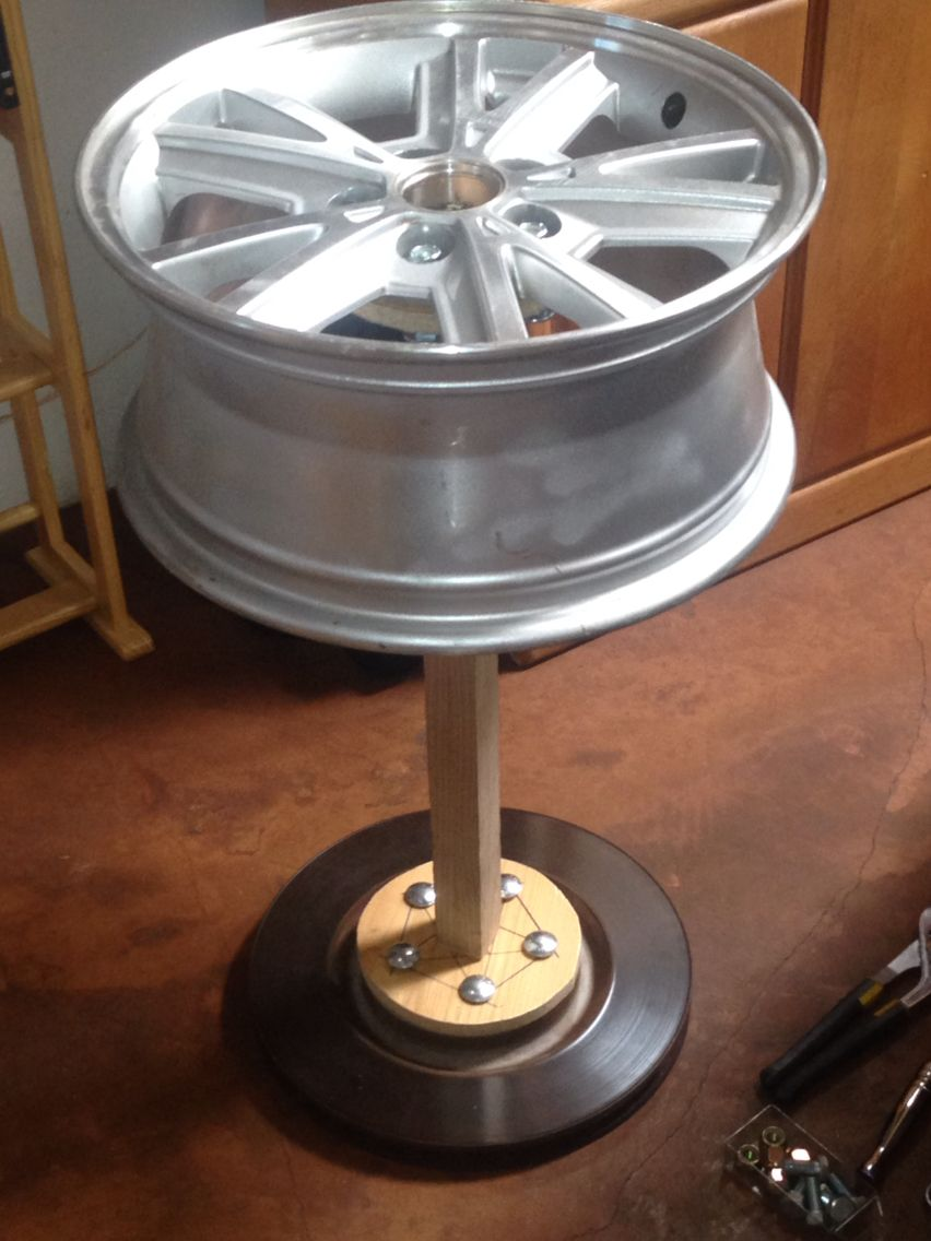 car rim side table in progress 18 rim wheel from a 05 09. Black Bedroom Furniture Sets. Home Design Ideas