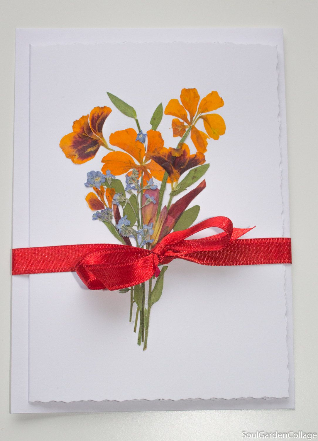 Pressed Flowers Card Birthday Card Handmade Greeting Card Ooak