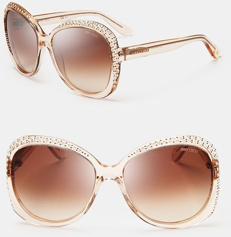ea597c4e41 Lu Crystal Oversized Sunglasses - Lyst. JIMMY CHOO Lu Crystal Oversized Sunglasses  Wayfarer Sunglasses
