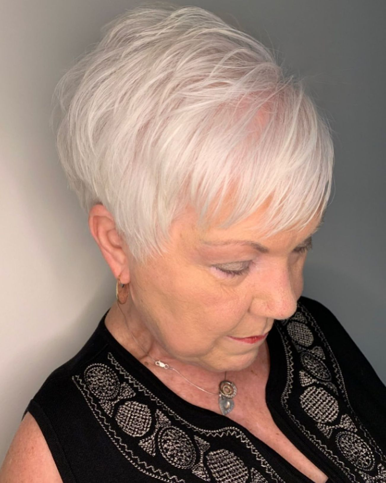 Feathered Pixie Haircut For Women Over 70