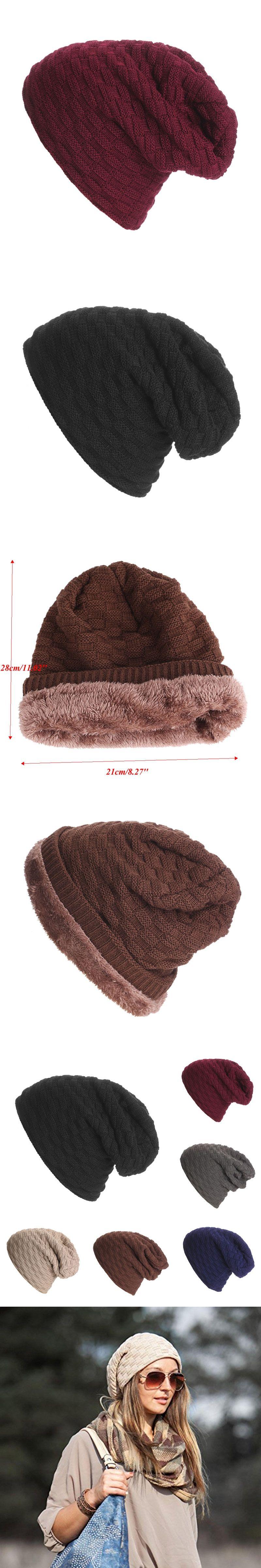 4d4378548adec Men Women Crochet Knit Plicate Baggy Beanie velvet Hat Skull Winter Warm  HipHop Cap