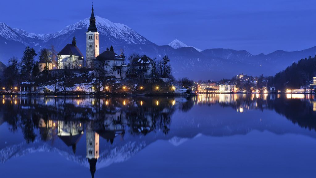 Bled Blue Hour Winter Panorama Bled Slovenia Lake Bled Cityscape Reflection Photos