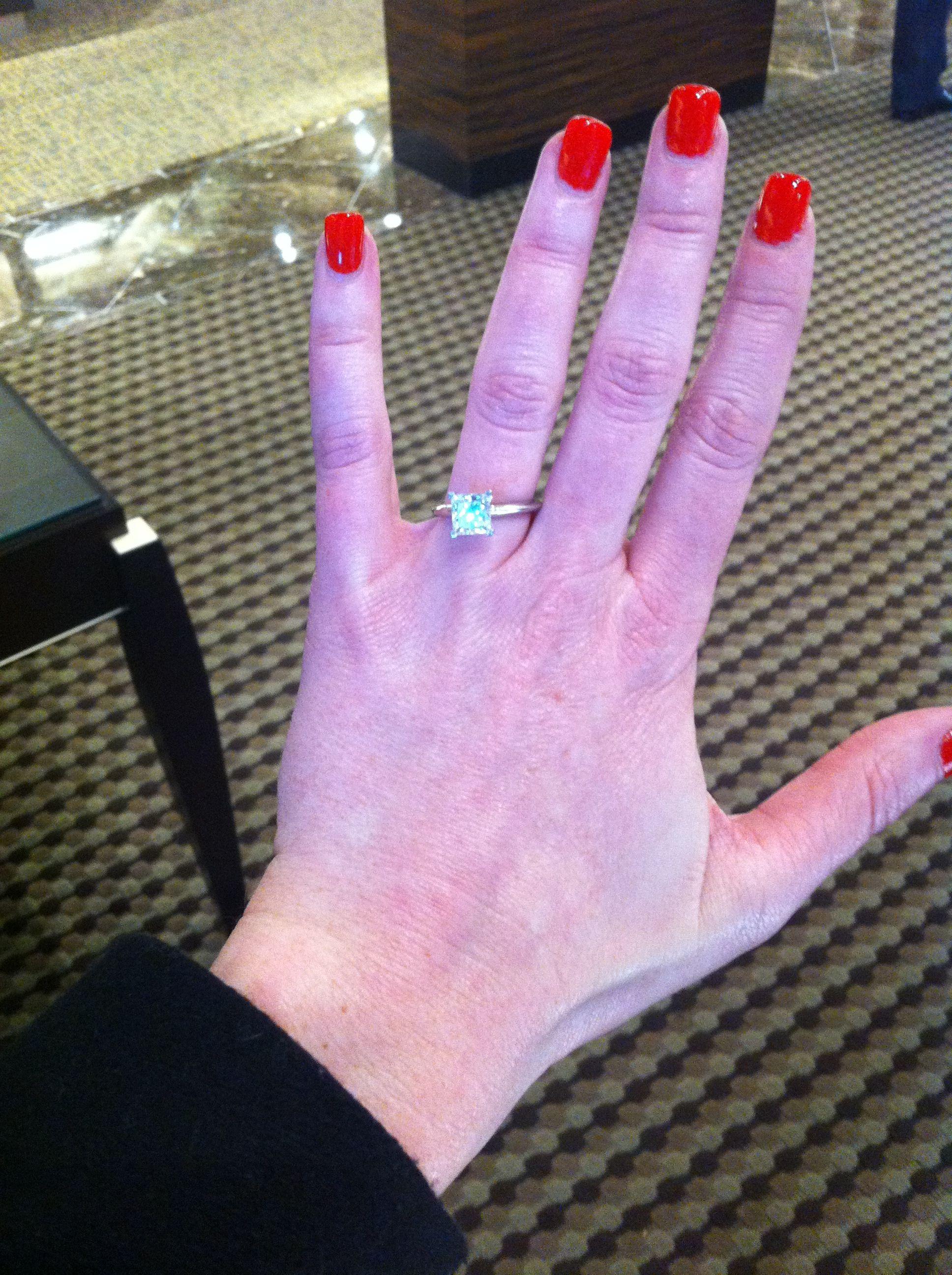 1.8 - 2 carat princess cut platinum setting tiffany\'s engagement ...