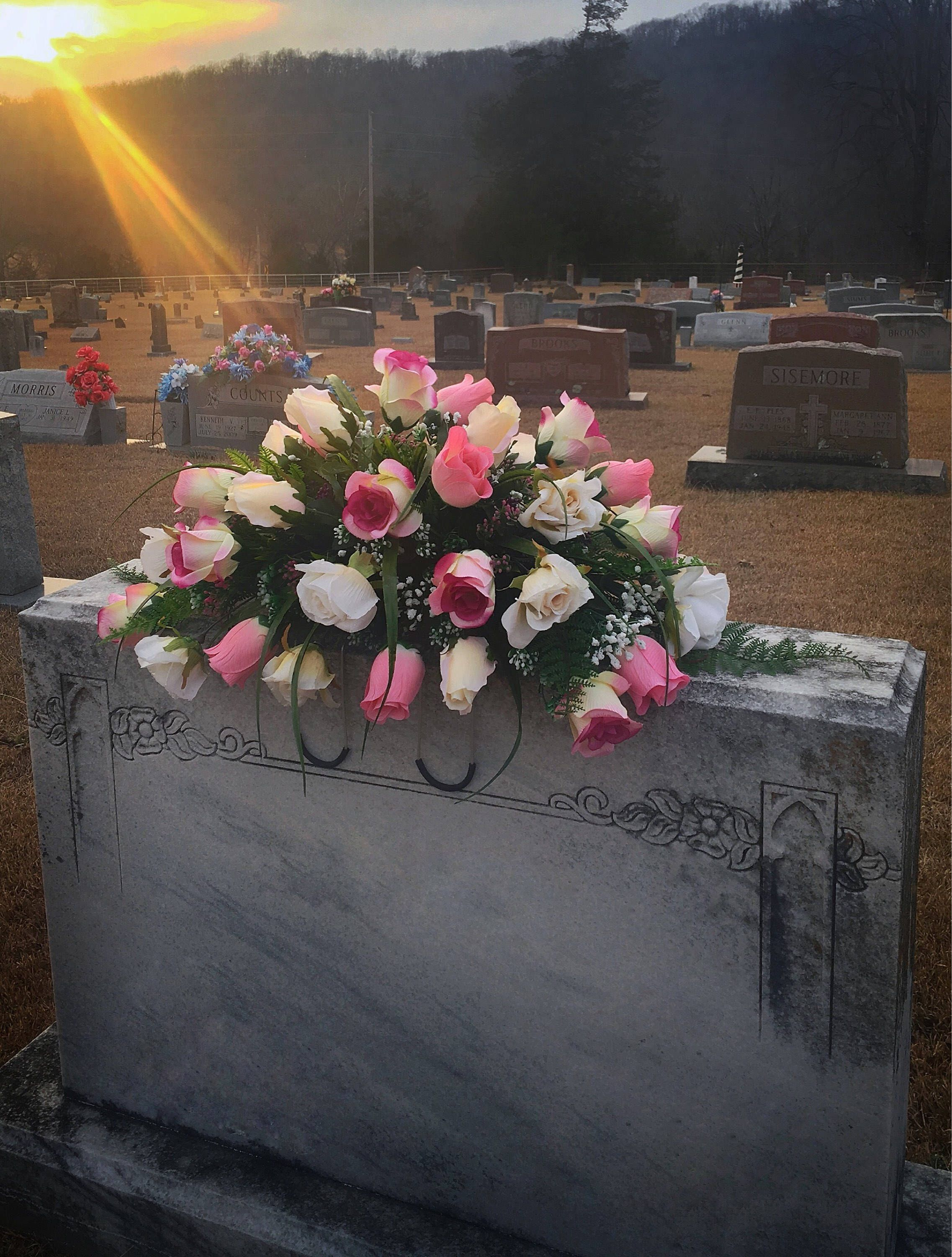 Cemetery flowers pink roses saddle headstone saddle sympathy a personal favorite from my etsy shop httpsetsy izmirmasajfo