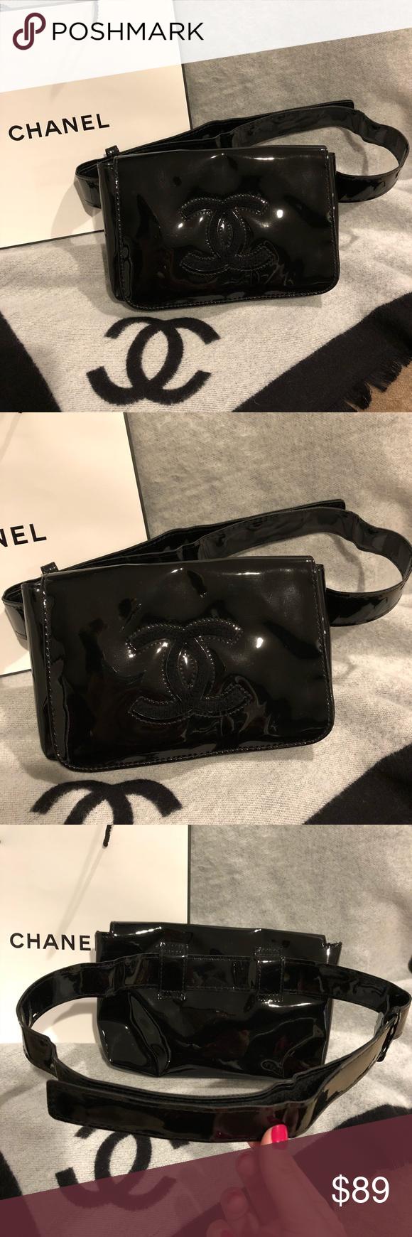 cc3852dc130d Authentic NWOT Chanel Patent Makeup Fanny Pack Bag Authentic NWOT Chanel  VIP Faux Patent Leather Black