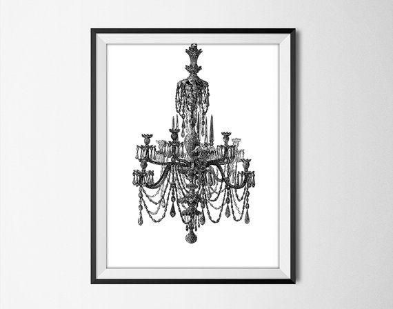 Chandelier Wall Art Print - Modern Home Decor - Black and ...
