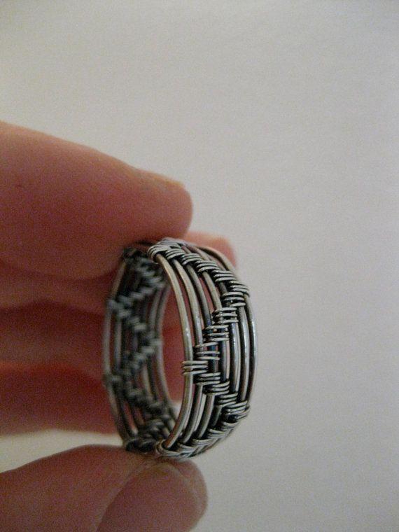 Draht gewickelt Ring Herren Damen Sterling silber oxidiert   Ringe ...