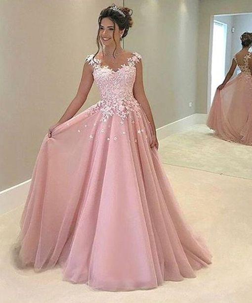 Fancy Pink Prom Dress,Long Prom Dress with Appliques,Prom Dresses ...