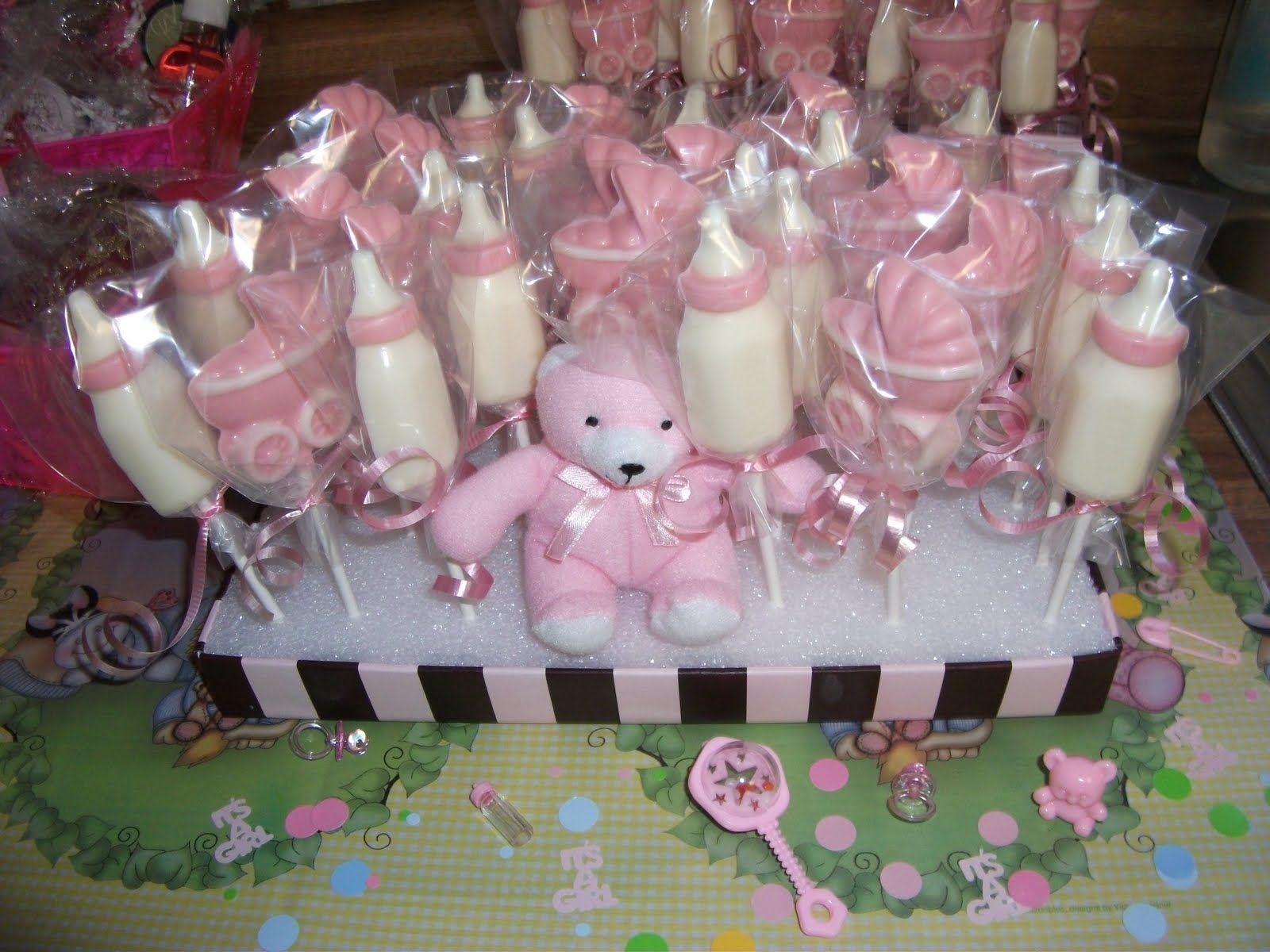 Candy Baby Shower Made These Suckers With Candy Melt And Molds She S Been Making Candy Baby Shower Chocolate Chocolate Favors Baby Baby Shower Cakes