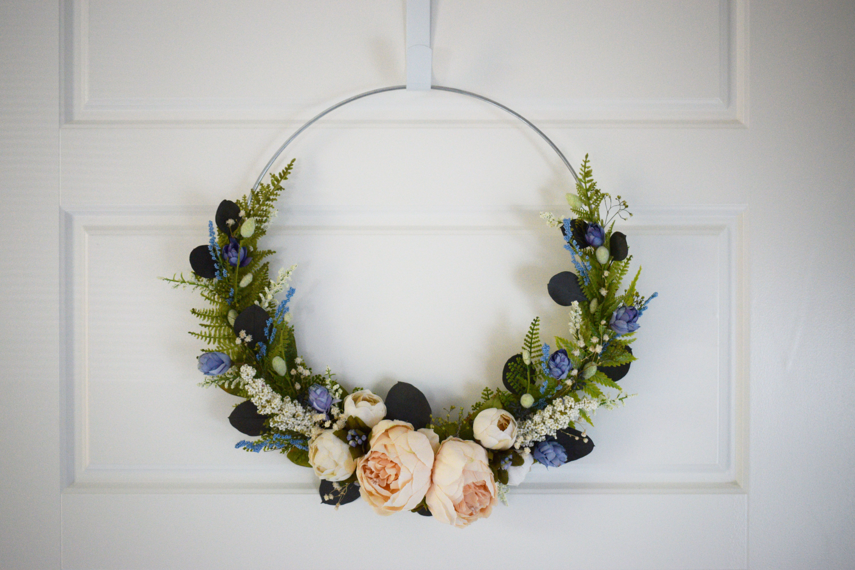 Photo of Beautiful Modern Wreath Elegant Minimalist Wedding Decoration Dried Eucalyptus Silk Peony Home Decor