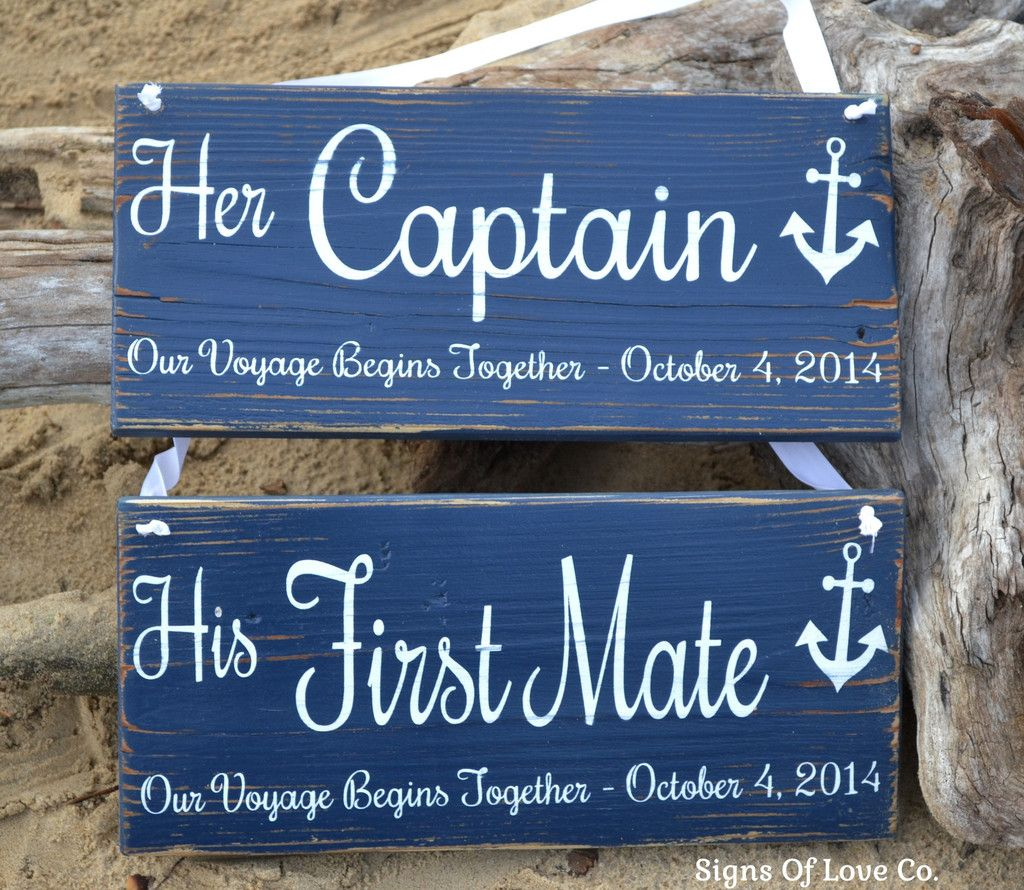 captain and first mate chair hangers wedding decor beach wedding sign nautical anchor wood