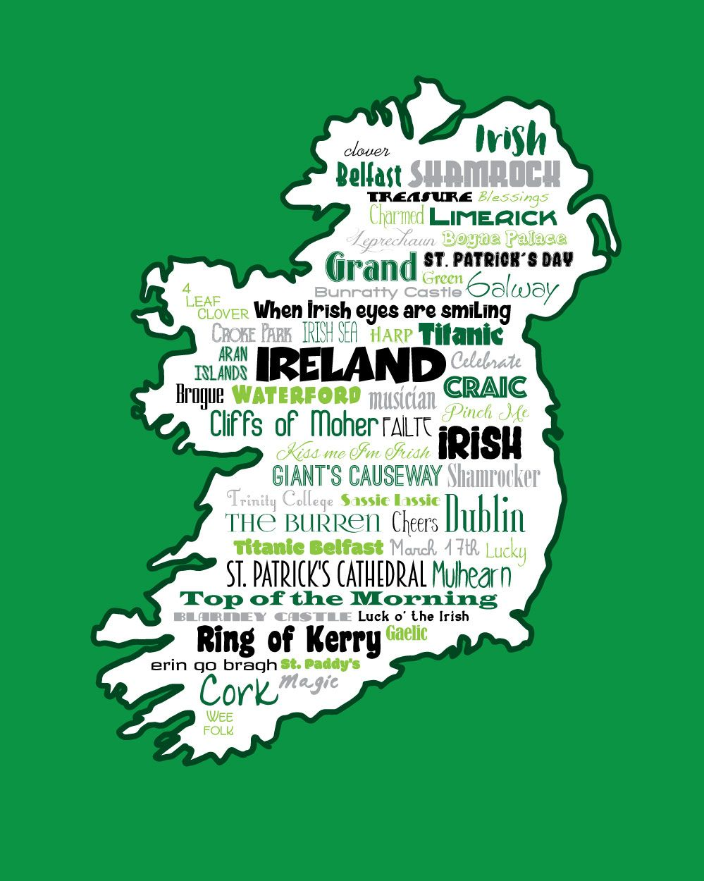 ireland / irish gaelic / word art typography / wall art / home