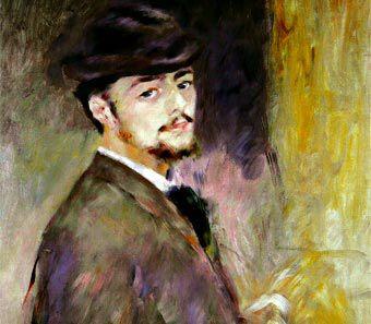 Autorretrato, 1876. Pierre Auguste Renoir  Hijo de artesanos, vivió sus primeros años en barrios proletarios donde trabajó como decorador de porcelanas y pintor de abanicos. Después pudo acceder al taller del pintor Gilbert y, luego, al de Gleyre, donde conoció a Monet, Bazille y Sisley, con quien más tarde compartió su casa en París.