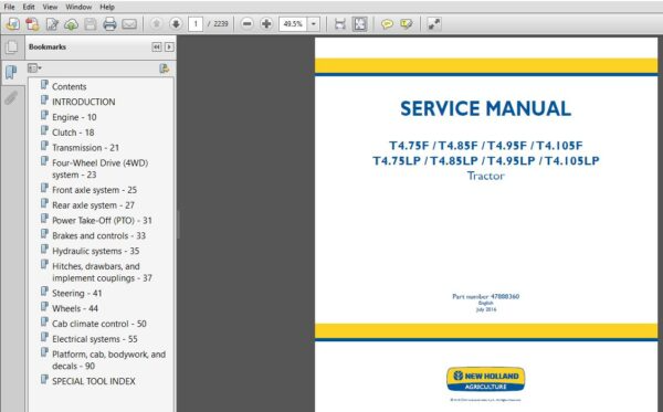 New Holland T4 75f T4 105lp Tractor Service Manual In 2020 New Holland Tractors Hydraulic Systems