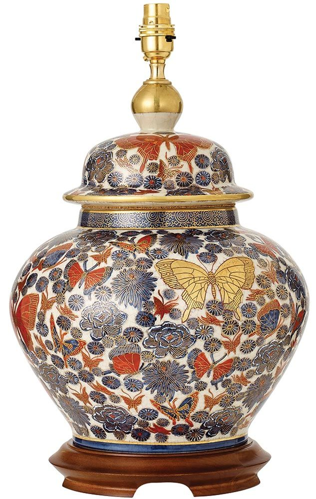 The Kutani Porcelain Erflies Large Ginger Jar Table Lamp Base Hand Thrown And Painted Glazed Of Highest Quality Finished With Pure