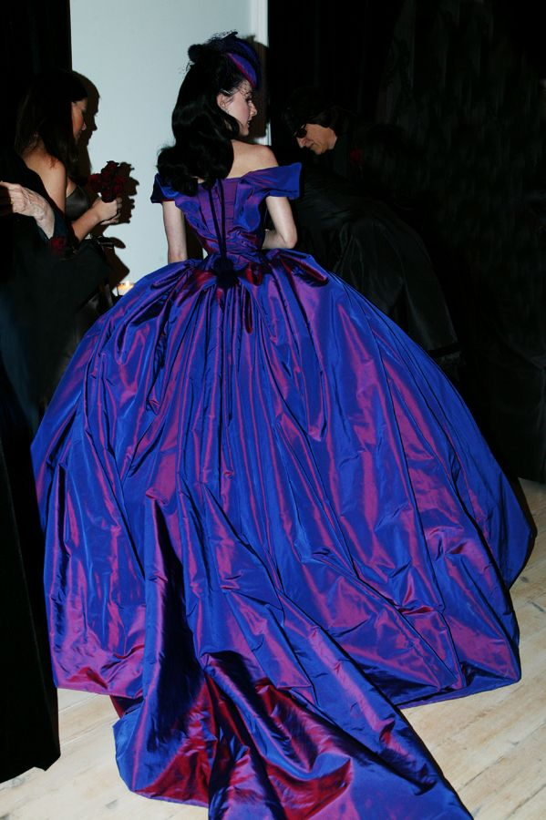 Dita Von Teese S Wedding Dress Was Custom Designed By Vivienne Westwood Made From Sevent Purple Wedding Dress Dita Von Teese Wedding Vivienne Westwood Wedding