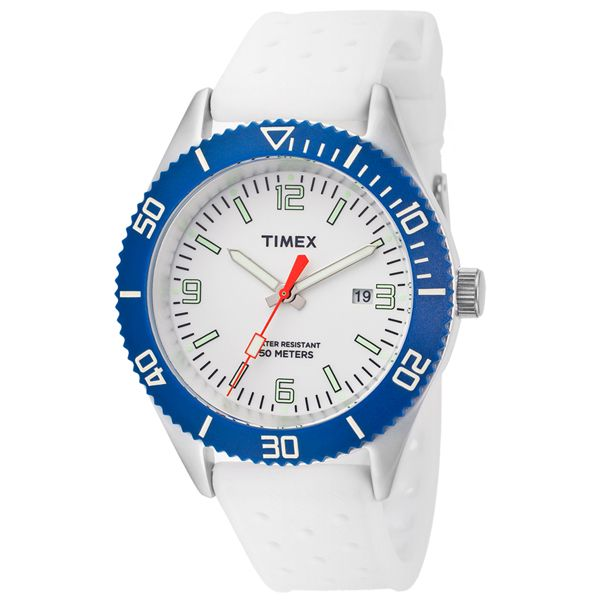 Men's White Dial White Rubber - Timex Watch