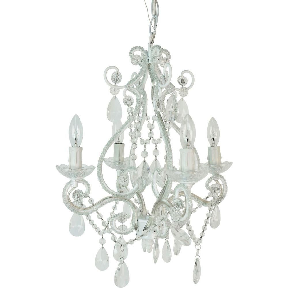 Tadpoles 4 Light White Mini Chandelier Cchapl410 The Home Depot Mini Chandelier White Chandelier Chandelier Lighting