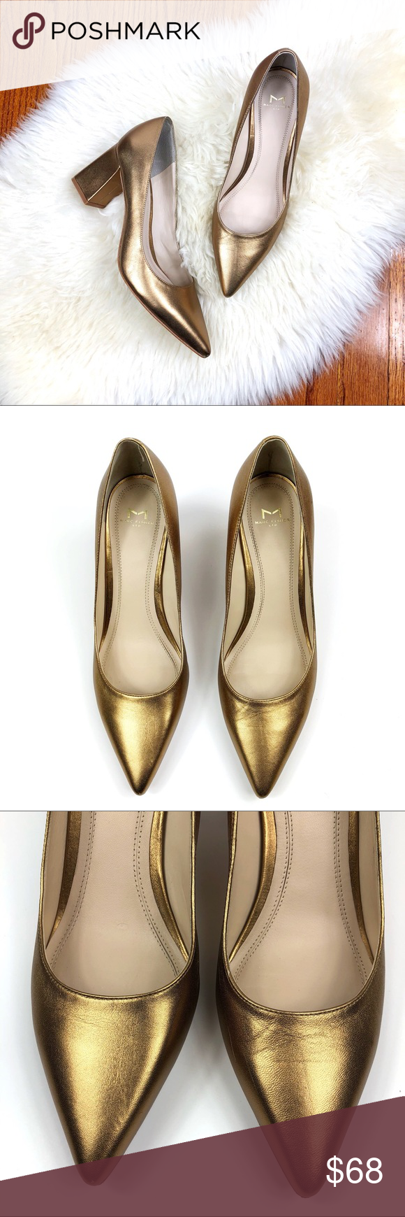 Marc Fisher Zala Gold Pointed Toe Pumps