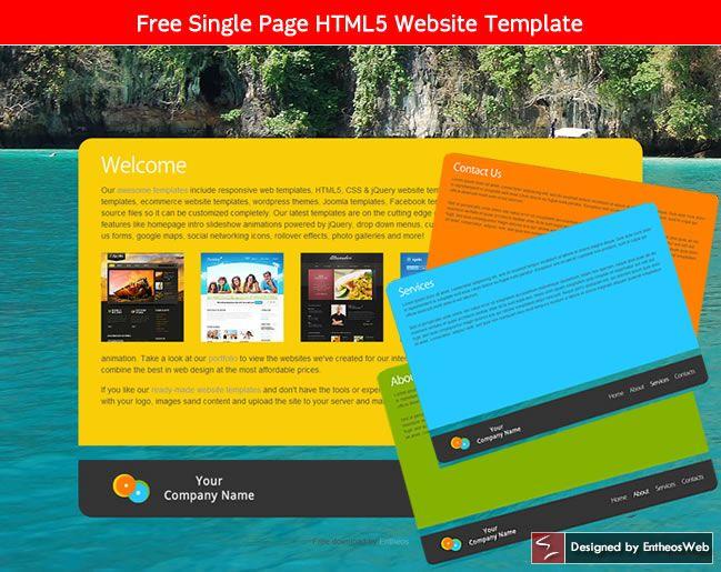 Free Single Page HTML5 Website Template Design Freebies