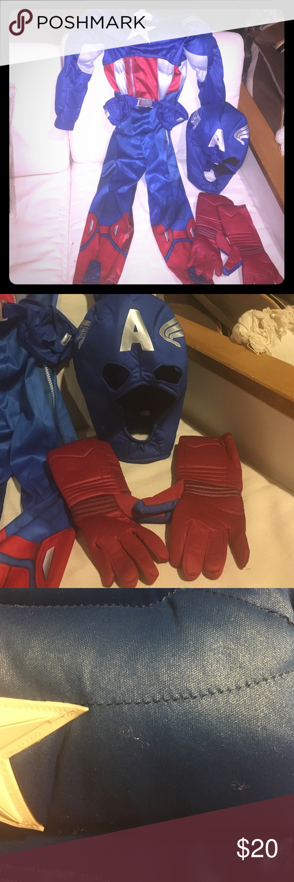 Kids Disney store Captain America costume size 5/6 Kids Disney store Captain America costume size 5/6. Includes one piece outfit, gloves and mask. Only wore once. Has little pools. Not noticeable pictured above. Costumes