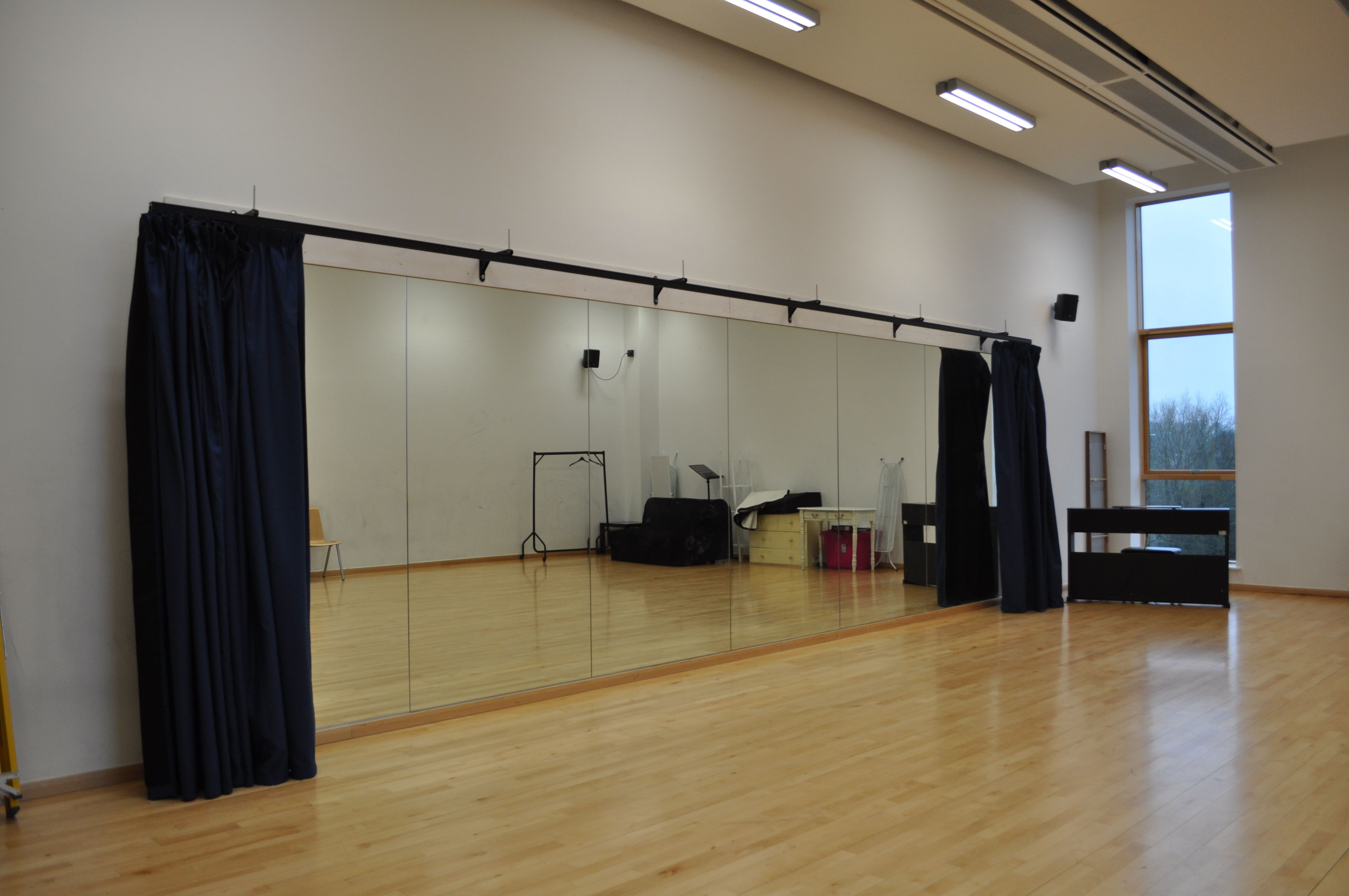 Our optimax studio mirrors and duratrack curtains
