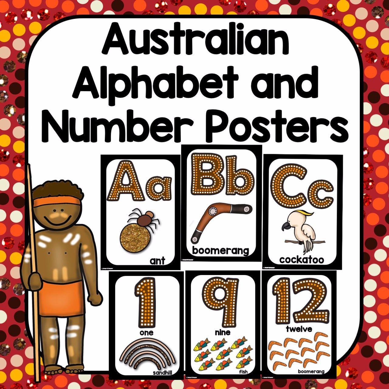 Australia Aboriginal Alphabet And Number Display Posters