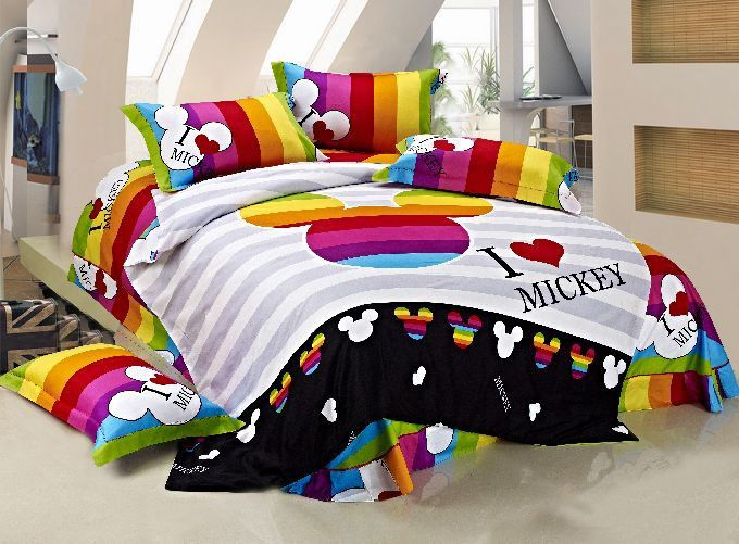 New 2014 Mickey Mouse Bedding Set 4pc Queen King Size Rainbow Rare Disney Bedding Disney Bedding Sets Disney Bedrooms