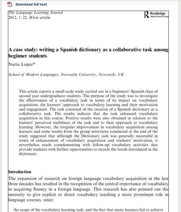 lopez n a case study writing a spanish dictionaryas a