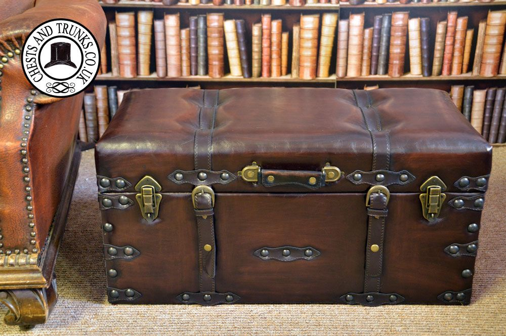 Vintage Leather Storage Trunk   Medium ⋆ Chests U0026 Trunks