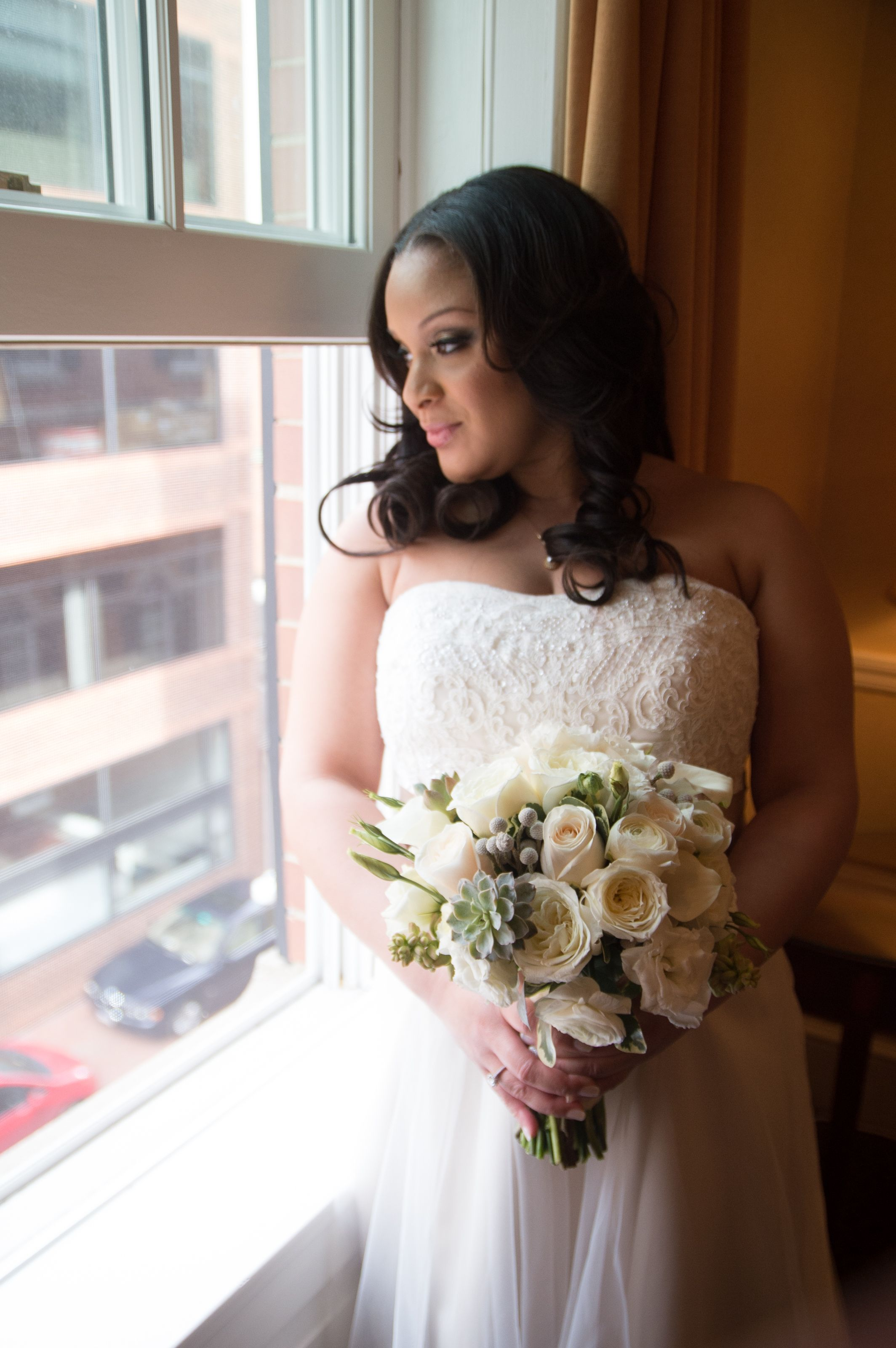 Bridal #gown in champage Bridal #portrait by the window #Morrison ...