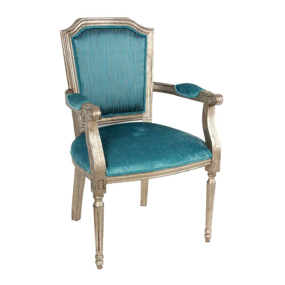 Best A B Home Glam Silver Accent Rubberwood Chair Av37867 400 x 300