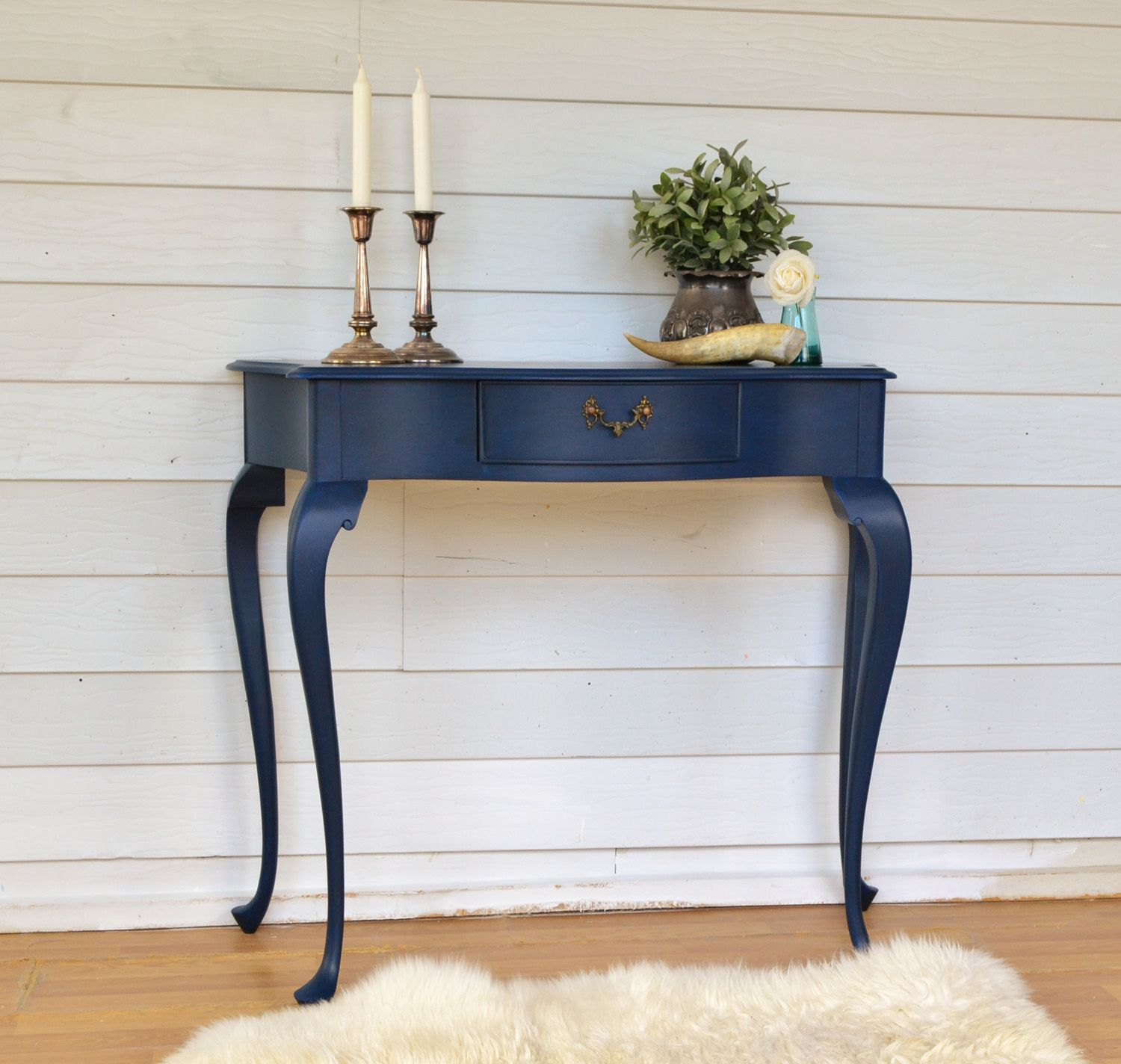 painted queen anne sofa table contemporary side this vintag chalk paint annie sloan ascp milk miss vintage hall with bow front has been in a deep intense sapphire blue perfect statement piece for your entryway