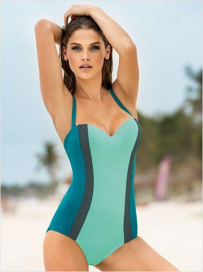 traje de bano entero strapless con control de abdomen