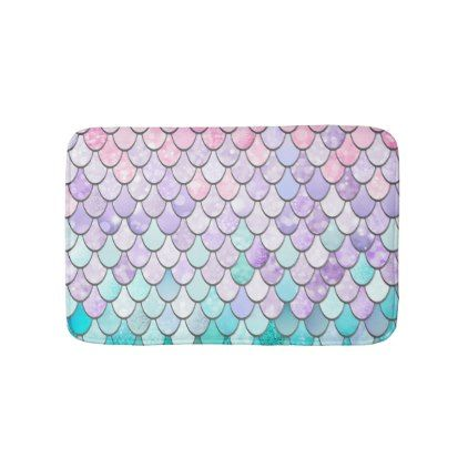Mermaid Bath Mat, Pastel Bath Mat | Zazzle.com #mermaidbathroomdecor