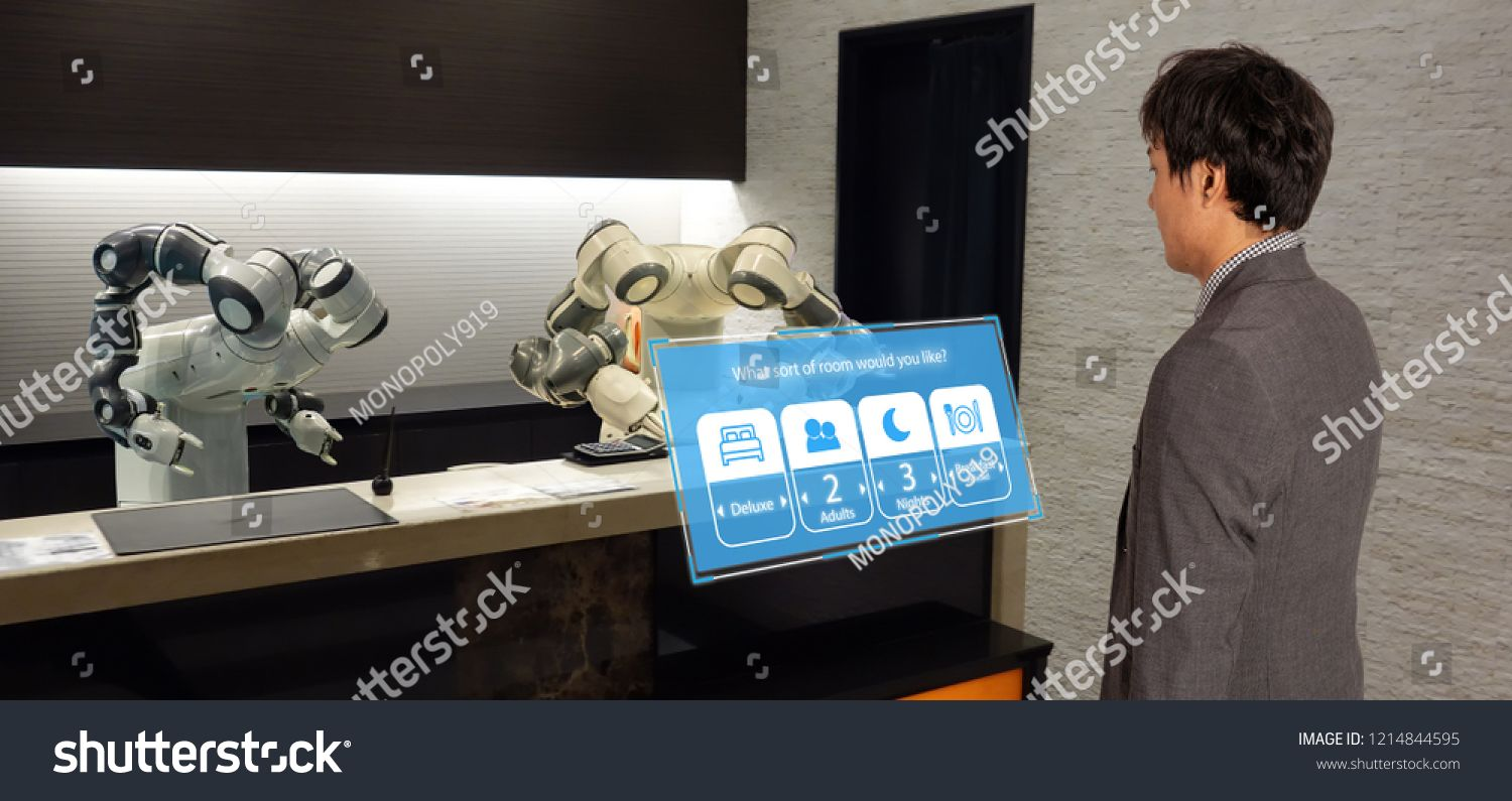 Smart Hotel In Hospitality Industry 4 0 Concept The Receptionist Robot Robot Assistant In Lobby Social Media Graphics Hospitality Industry Keynote Template